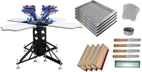 Micro-registration 4 Color 4 Station Screen Printing Kit with Screen /Squeegees