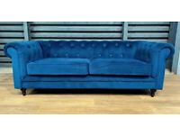 Hardly Used Chesterfield 3 Seater Velvet Sofa Blue.