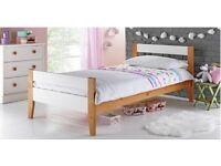 Two Tone Single Bed with Drw & Elliott Mattress-White & Pine