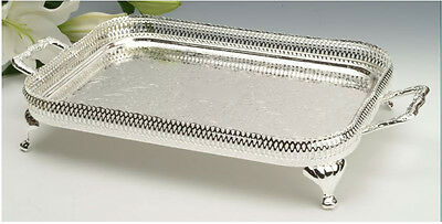 Vintage Silver Plated Oblong Gallery Tray With Legs And Handles -GIFT-SALE for sale  Shipping to Ireland