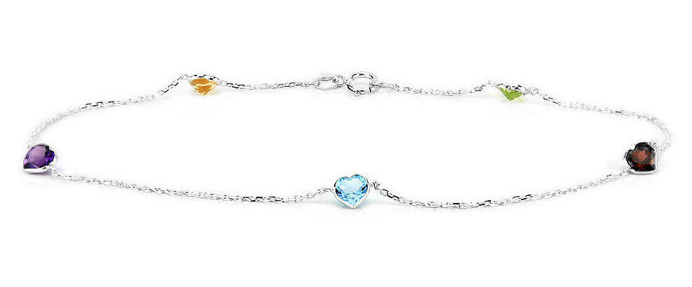 14K Yellow Gold Anklet With Round Shaped Cubic Zirconia 9 Inches