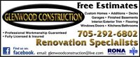 "GLENWOOD CONSTRUCTION   ""Renovation Specialists""  Free Estimates"