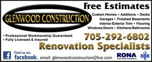 "GLENWOOD CONSTRUCTION   ""Renovation Specialists""  Free Estimates Peterborough Peterborough Area image 1"