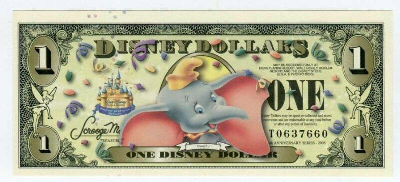 DISNEY 2005T, 1 DOLLAR, UNC, DUMBO NO BAR CODE