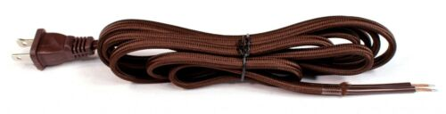 8 ft Brown Rayon Cloth Covered Electric Lamp Cord w/ End Plug, DIY Lamp Repair