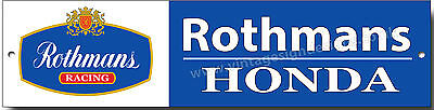 ROTHMANS HONDA RACING METAL SIGN,VINTAGE HONDA MOTORCYCLE RACING GARAGE SIGN