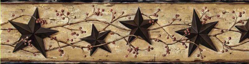 George Sand Tin Star Trail Wallpaper Border Chesapeake BBC65362B
