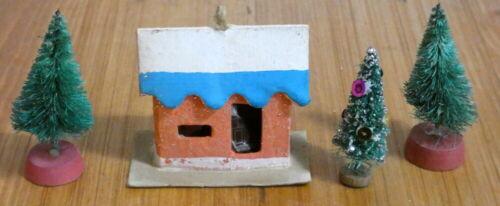 Vintage Christmas Putz Cardboard Mica House with Brush Tree Lot Japan