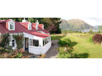 Holiday Cottage Oban area Argyll. Sleeps 4-6 in 3 bdrs, superb view, WiFi, gardens, pets, near beach