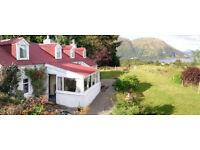 Holiday Cottage, near Oban Argyll. Sleeps 4-6, 3 bdrs, superb sea & mountain views, gardens & pets.