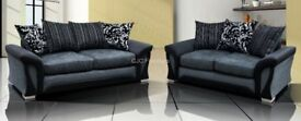 BRAND NEW FABRIC 3 + 2 SHANNON SOFA SUITE IN BLACK OR BROWN