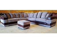 Large Corner Sofa - Brown. Can deliver