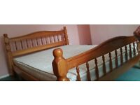 King size pinewood double bed
