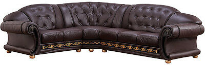 ESF Furniture Apolo Sectional Sofa Living Room in Brown Italian Leather