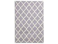 2 large matching 100% wool, dove grey, latticed rugs (2.3mx1.6m)