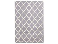 2 large matching 100% wool, dove grey, latticed rugs (2.3mx1.6m ea.)