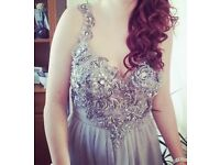 Grey silver coloured prom/evening dress