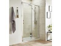 Shower Door Sliding Aluminium Polished Chrome Brand New 1400mm