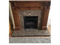 Fireplace with gas fire, surround and marble hearth