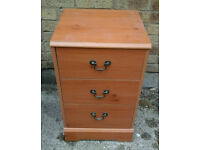 One small wooden 3 drawer chest