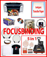 5in1 Sublimation Heat Press,Epson Printer C88,Refil Package