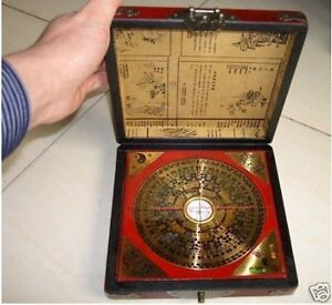 Chinese old Feng Shui compass with dragon wooden box