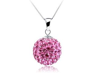 Fashion Jewelry Genuine Pure CZ Crystal 18K 10MM Ball Charm S925 Silver Necklace