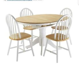 Kentucky Extending Table & 4 Chairs White/Natural.(rrp £379)
