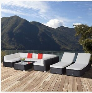 9pc Patio Rattan Wicker Sofa Sectional & Chaise Lounge Furniture