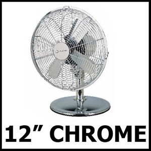METAL-BLADE-3-SPEED-CHROME-OSCILLATING-12-DESK-FAN-NEW