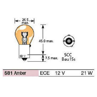 Amber Pack of 10 Connect 30544 Offset OE581 12V 21W Lucas Indicator Bulb