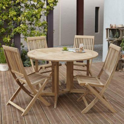 Roscana Teak Wooden 4 Seater Garden Furniture Set   in ...