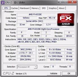 AMD FX8320e + 4 x 4gb 1866mhz ddr3 HYPERX SAVAGE RAM