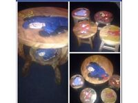 Solid wood carved table and four stools