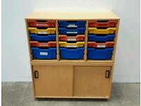 Multi 15 Drawer 2 Door Office School Unit Cabinet in Oak !