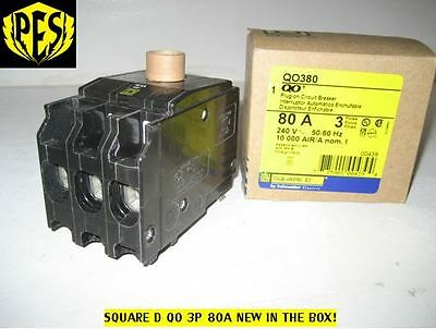 New In Box Square D Qo380 3 Pole 80 Amp Circuit Breaker   Fast Shipping