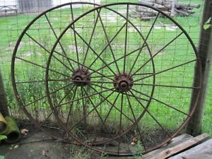 Large Antique Steel Farm Machinery Wheels