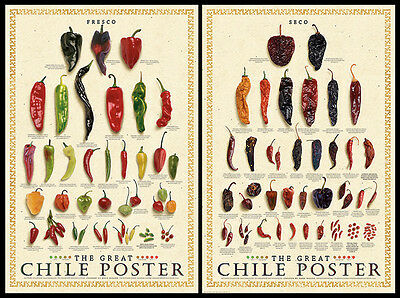 The Great Chile Poster - THE GREAT CHILE POSTER 2-Poster Set (Fresco and Seco) Kitchen Spices Wall Art