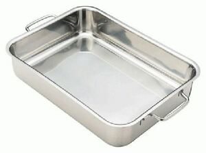 rectangular stainless steel roasting pan baking tray in 4 sizes with ridges ebay. Black Bedroom Furniture Sets. Home Design Ideas