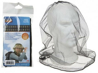 MOSQUITO MESH HEAD NET TRAVEL PROTECTOR CAMPING BUGS FLIES FACE NETTING MIDGE £