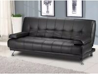 BLACK FAUX LEATHER SOFA BED WITH FEW MINOR RIPS AT THE TOP OF THE SOFA BED (THE BACK REST)