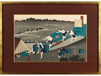 KATSUSHIKA HOKUSAI - 'Poem' - antique woodblock print - framed (18th/19th Century Japanese artist)