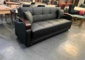 Brand New Turkish Real Leather Sofa Bed 3+2 with Storage Space