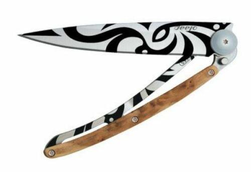 Deejo Knife with Tribal Tatto, 11cm(closed), 37g ,Juniper Wood, Gray Titanium