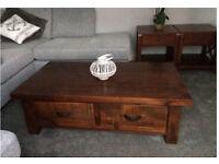 Heavy/Solid Coffee Table (Furniture Village) Dark walnut toned wood