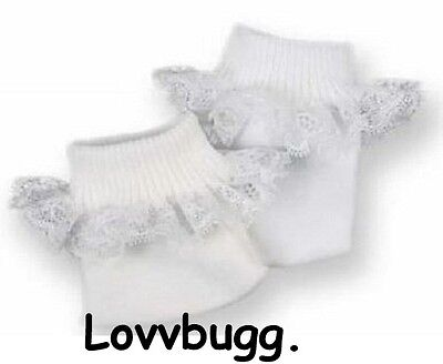 Lovvbugg White Socks with Lace for American Girl 18 inch and Bitty Baby 15 inch Doll Clothes or Preemie Baby