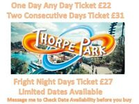 Thorpe park fright night discount £28 tickets Monday