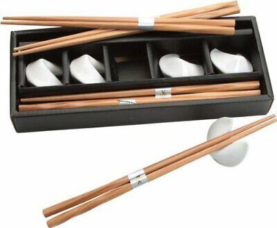 JapanBargain White Fortune Cookie Chopsticks and Rest Set S-4587