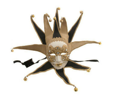 Mask from Venice Volto Jolly Macrame Gold Black - Mask Venetian Joker 278