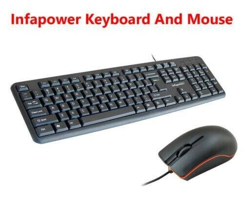 Infapower Wired Waterproof Keyboard With Mouse Set Combo for PC/Mac Laptop